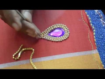 Making of Kundan work with Stone and Stone Lace - Maggam work making video