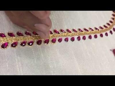 Making of simple Double line kundan work - Maggam work making video