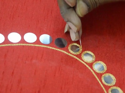 Mirror work making for Leaf Neck blouse - Maggam work making video