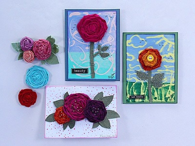 Mixed Media Sari Ribbon Flowers and More with Barb Owen - HowToGetCreative.com