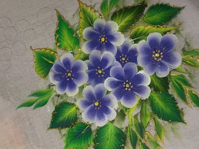 One stroke painting for beginners. one stroke fabric painting flowers and leaves.