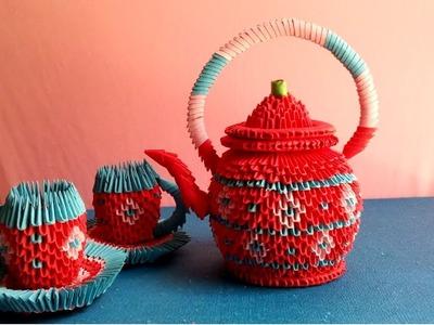 Origami 3d tea pot tutorial How to make tea pot origami 3d làm bình trà giấy