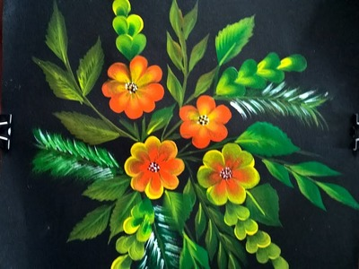 Painting. One stroke painting for beginners.Simple and easy decorative flowers one stroke painting.