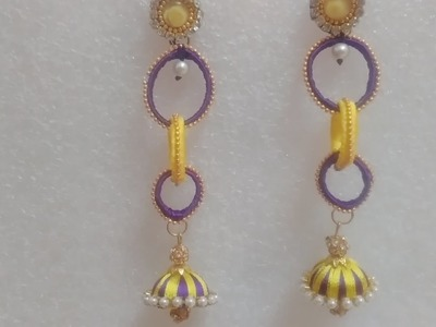 Party wear silk thread trible round jhumka long earring making