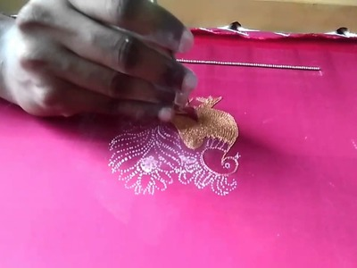 Peacock embroidery design for blouse