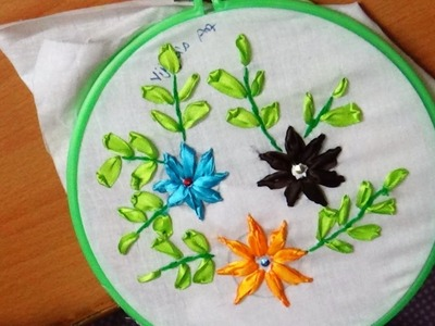 Ribbon Embroidery beautiful  Flower Designs