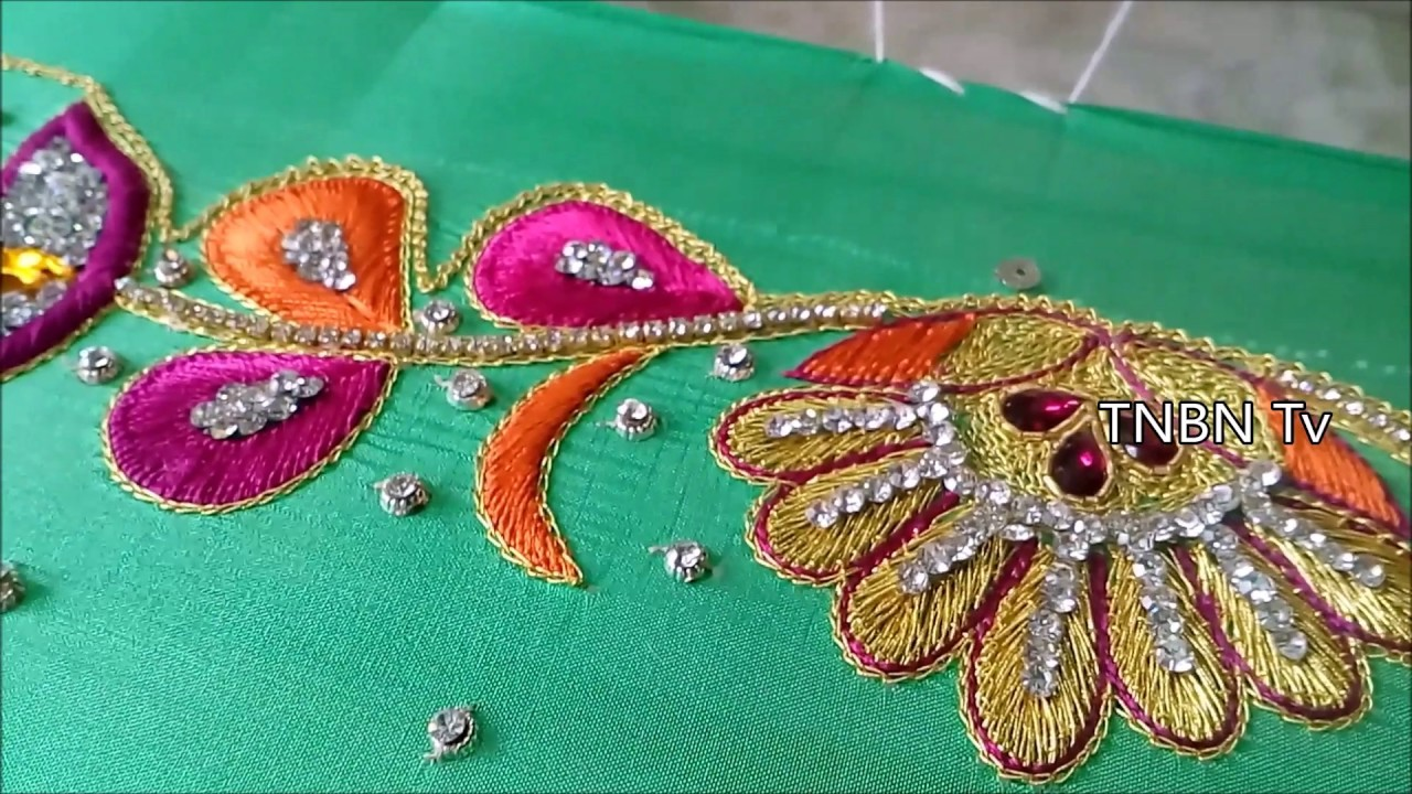 Simple maggam work blouse designs zari for beginners