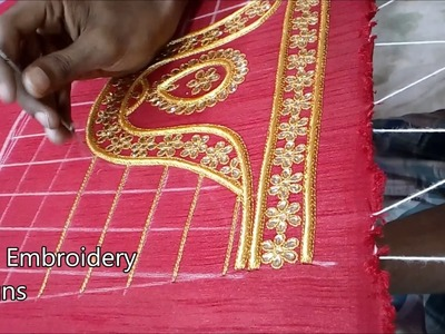 Simple maggam work blouse designs | hand embroidery designs | hand embroidery zari work