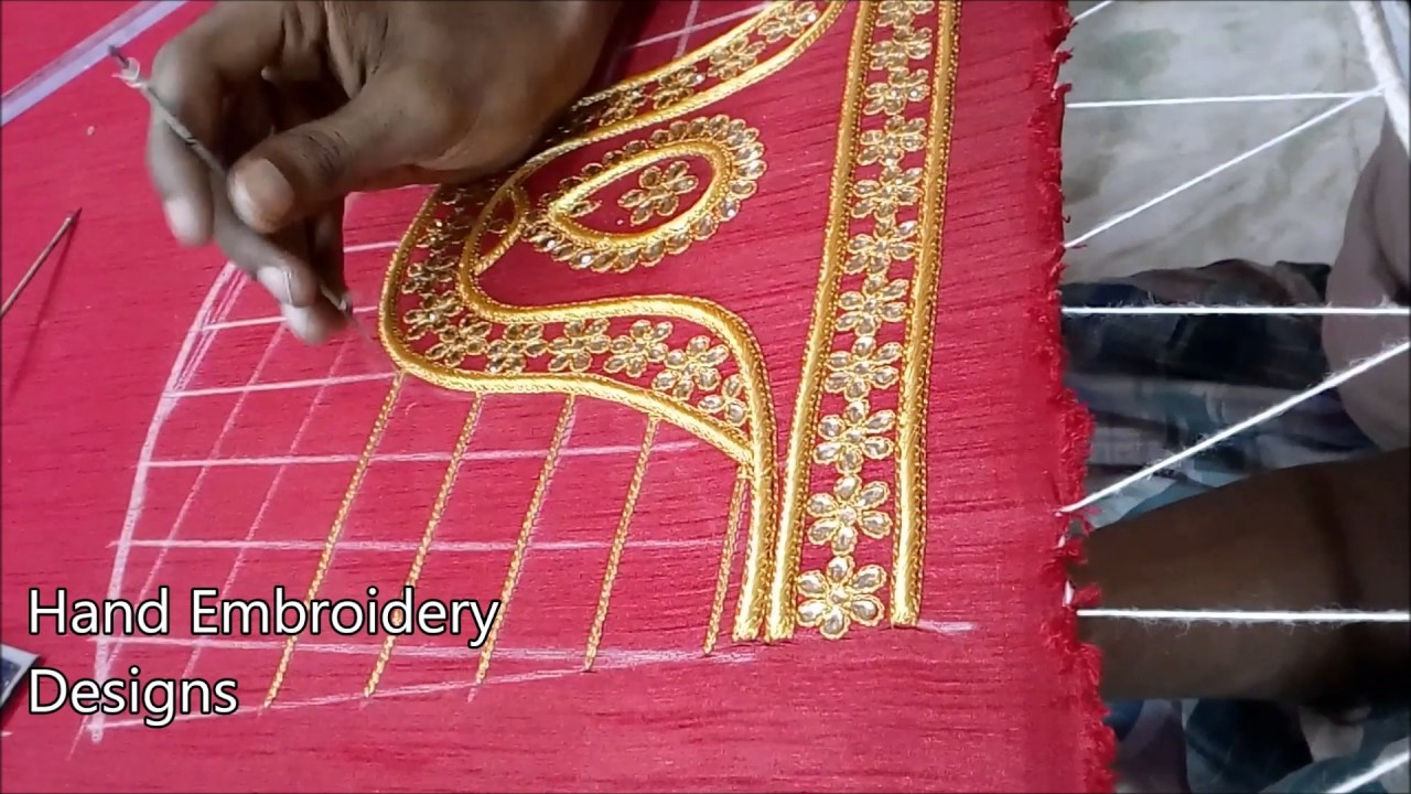 Simple maggam work blouse designs hand embroidery