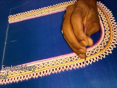 Simple maggam work blouse designs | hand embroidery designs | zari indian embroidery designs