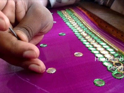 Simple maggam work blouse designs | hand embroidery designs | mirror work blouses tutorial