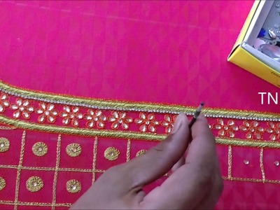 Simple maggam work blouse designs, embroidery beginners stitches, aari work blouse designs tutorial