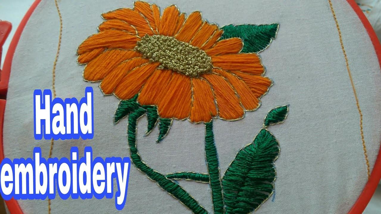 Sunflower stitch hand embroidery design