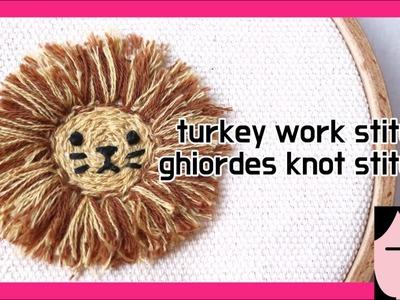 Turkey work stitch , ghiordes knot stitch  embroidery 스미르나 스티치