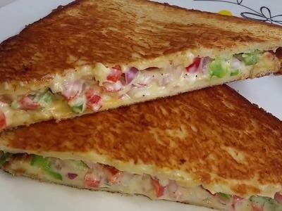 Veg Mayonnaise Sandwich on Tawa Recipe