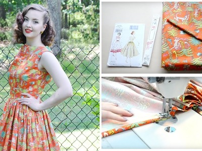 1950's Monkey Dress ☆ Project Vlog and Pattern Review. Vouge V8789