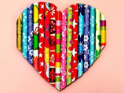3D Heart Straws Canvas diy art craft how to make it room decor idea tutorial fun hack gift home wall