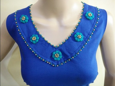 Amazing Neck Design (With Fabric Button) Cutting And Stitching