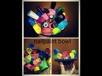 DIY CRAFT - HOW TO MAKE BOWL TO KEEP NAILPAINTS FROM NEWSPAPER CRAFT | BASKET RECYCLING