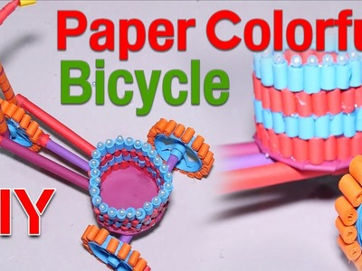 DIY craft, Khmer homemade paper colorful bicycle