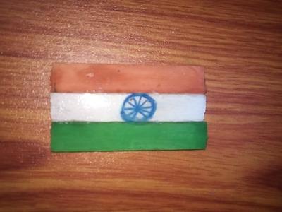 DIY craft-- make Indian flag batch by hand