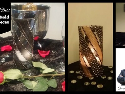 DIY: Easy Black & Gold Centerpieces| Dollar Tree Vases