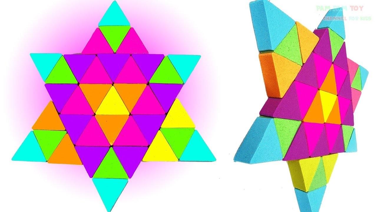 DIY How to make Kinetic Sand Cake Rainbow Triangular - Art and craft for Kids