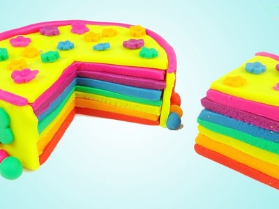 DIY How to Make Play Doh Rainbow Birthday Cake - Art and Craft for Kids