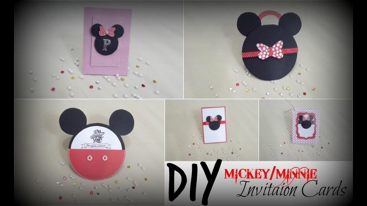 Diy Mickey Minnie Invitation Cards Praveen Kaur Diy Art And Craft