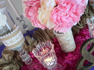 DIY Shabby Chic Burlap and Pearls Centerpiece Trio