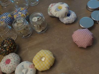 Dollar Tree Craft DIY: Process Video for Small Mason Jar Pin Cushion sewing kits.Baby Shower Favors