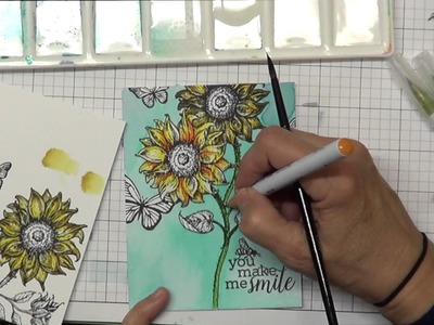 How to Alter a Stamp & Watercoloring with  Zig Clean Color Brush Markers