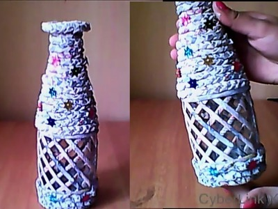 How to decorate a waste bottle by using newspaper | Newspaper craft