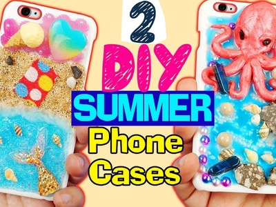 HOW TO MAKE 2 DIY SUMMER PHONE CASES  Epoxy resin craft beach octopus polymer clay tutorial 2017