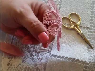 How to make a heart from a square with tatting lace or anything
