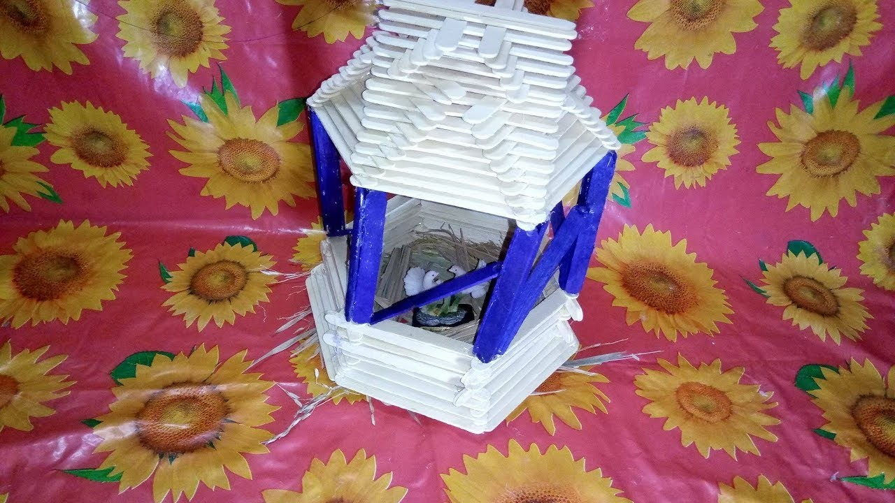 how to make simple ice cream stick house