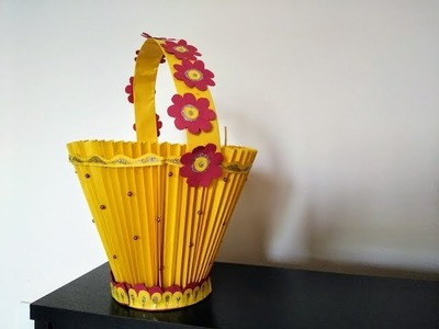 How to make decorative paper basket | DIY | Kid's craft assignment