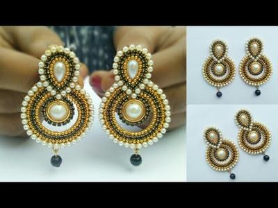 How To Make Designer Earrings | How To Make Paper Earrings | Jewellery Making | DIY+earring(earring)