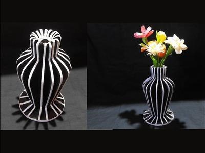 How To Make Flower Vase With Newspaper and Cardboard . DIY Flower Vase. Best Out Of Waste