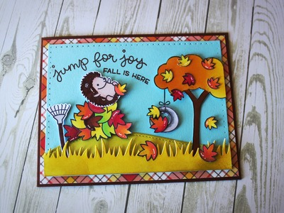 Jump for joy! - fall card using new Lawn Fawn stamp set!