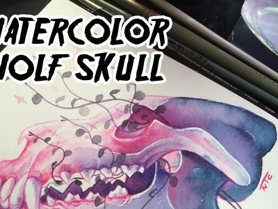 Life and Death!. Wolf Skull Watercolor Time Lapse (100 Day Project: Day 7)
