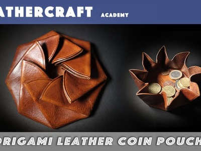 Making a leather origami coin pouch. leather craft tutorial