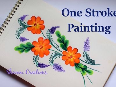 One Stroke Painting For Beginners. Easy Flower Painting