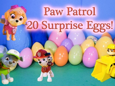 PAW PATROL Nickelodeon 20 Surprise Eggs Paw Patrol Surprise Eggs Candy + Toys  Video