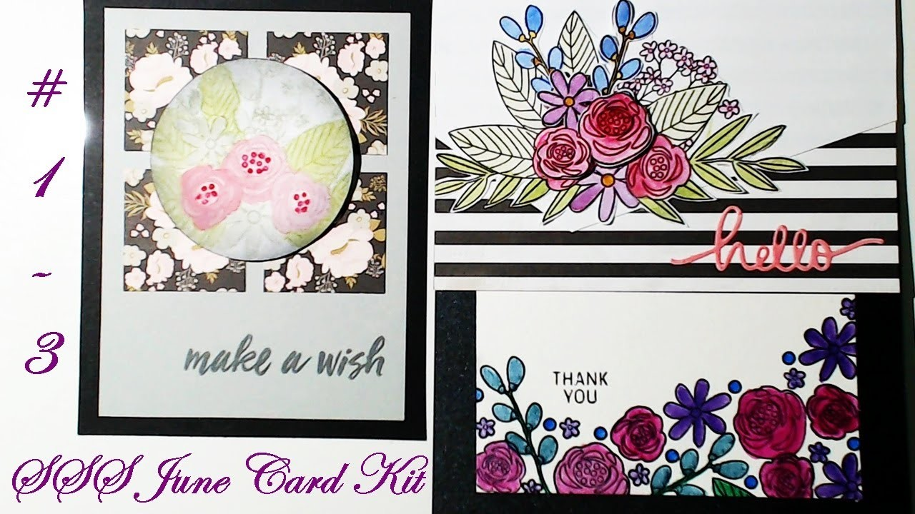 SSS June 2017 Card Kit Cards #1-3 | Using Card Sketches| Tutorial