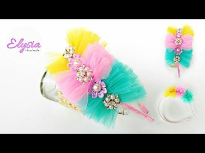 Tulle Fabric Craft Ideas | How To Make Tulle Pom-pom With Rhinestone Headband