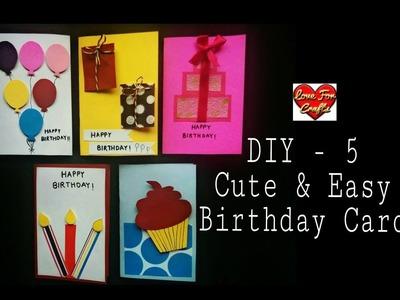 5 Cute & Easy Birthday Greeting Cards | DIY Birthday Cards