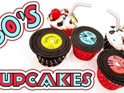 50's CUPCAKES ♦ Easy Beginner Baking Tutorial ♦ DIY 1950's Records and Milkshake Cupcakes How-to