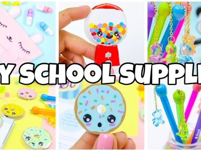 BACK TO SCHOOL SUPPLIES! Pencil case bookmarks gum ball machine diy-EASY DIY school supplies