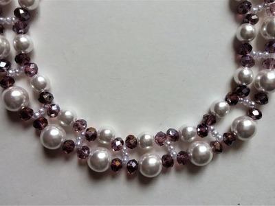 Beading tutorial for beginners. DIY Elegant  necklace